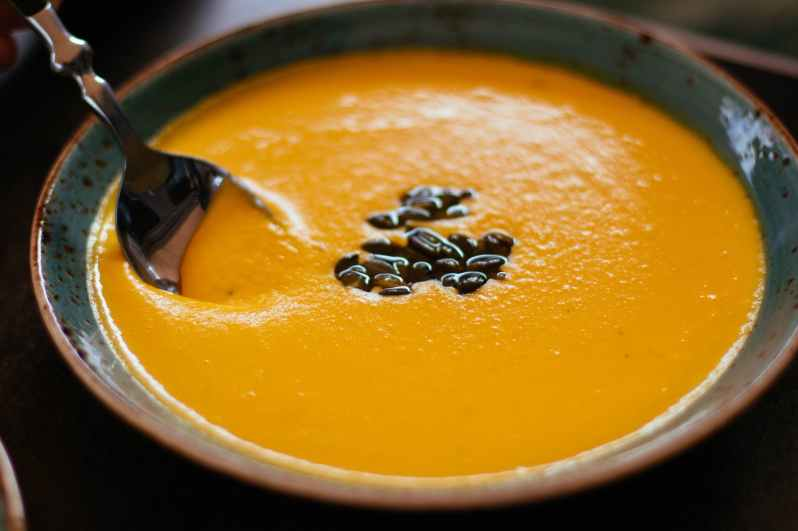 shallow focus photography of squash soup